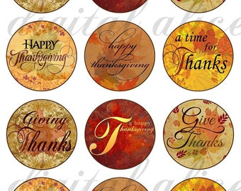 THANKSGIVING Craft Circles - Giving Thanks, Give Thanks,  Instant Download Digital Printable-Bottlecaps,tags,cupcake toppers,Collage Sheet