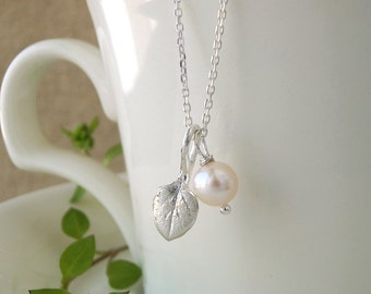 Tiny Chickweed Leaf Jewelry - Pure Silver Real Leaf Pendant, Freshwater Pearl, Thin Sterling Silver Chain Necklace, Herb Jewelry