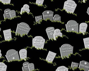 Halloween Fabric, Fangtastic, Gravestone Fabric, Glow in the Dark Halloween Fabric, by Henry Glass 1099-99