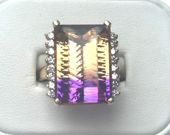 Gorgeous, Unbelievable, 14k yellow Gold 16.98 ct Emerald Natural Ametrine Quartz and Diamond Ring