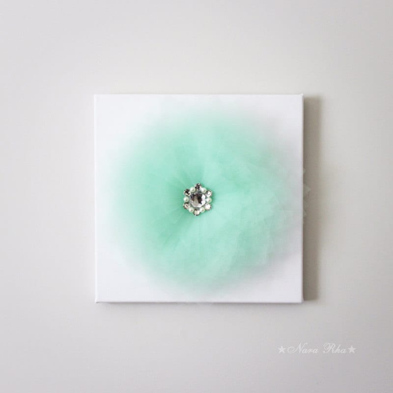 Mint Decor Flower Wall Decor Mint Flower Wall Hanging Flower Wall Decor  Shabby Decor Chic Decor 12X12Canvas Art Tulle Flower With Rhinestone