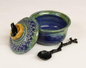 Blue Green Sugar Bowl with Black Bird on Nest