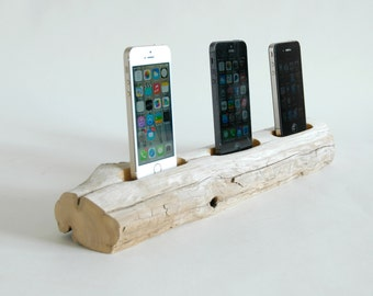 Driftwood Docking Station For Three Smart Phones