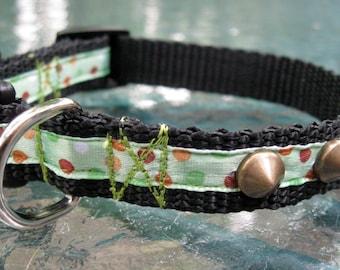 Studded Dog Collar, green & brown polka dots, XS dog collar, extra small, dog collar for boy, dog collar for girl, toy dog, cute dog collar