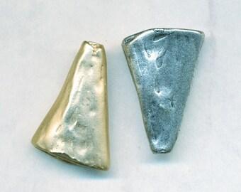 "FLATTENED BEAD CONES - Handmade in Bali--one pair 1"" long--4mm Hole 5/8"" wide"