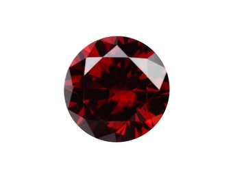 12 mm faceted round Cubic Zirconia cabochon Red Magma x 1 pc