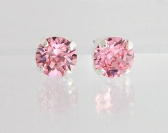Pink crystal stud earrings,pink crystal earrings,pink swarovski earrings,swarovski earrings,pink bridesmaid earrings,pink earring,light rose