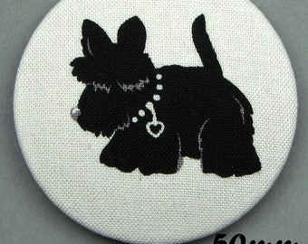 Fabric covered button - dog - Scottish Terrier - Scotties (50-06)