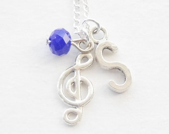 Treble Clef Necklace, Music Necklace, Music Teacher Gift, Musician Gift, Singer Necklace, Graduation Gift, Birthstone Necklace, Music gift