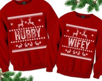 Hubby Wifey Unisex Ugly Sweaters. Ugly Family Sweatshirt. Couples Sweatshirts. Tacky Christmas Sweater. Wedding Engagement Christmas gift.