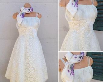 French Vintage 1950s ivory lace wedding dress