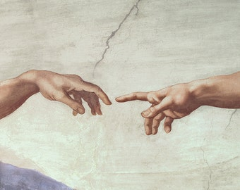 Michelangelo: Hands of God and Adam, detail from The Creation of Adam, from the Sistine Chapel. Fine Art Print/Poster. (003632)