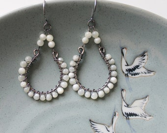 Wire Wrapped Gemstone Chandeliers, Statement Semiprecious Stone Earrings, Mother of Pearl, Oxidised Sterling Silver,Bohemian Butterfly-PRISM