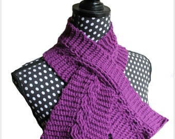 Download Now - CROCHET PATTERN Cable Keyhole Scarf - Pattern PDF