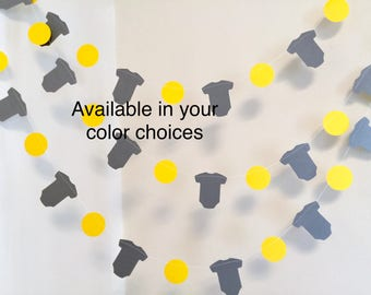 Yellow and gray baby shower Decorations - Onesie Garland - Onesie Baby shower Decor-  onesie banner - your color choices