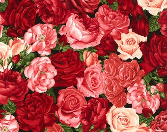 Packed Roses, Timeless Treasures Fabric, C5815 Rose, Red Pink Roses, English Garden, Cotton Floral, Quilting, Quilt, Fabric By the Yard