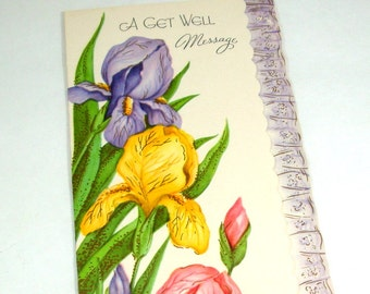 Vintage Get Well Card, Greeting Card, Iris, Purple, Yellow, Pink Flowers, Floral, Mid Century Paper Ephemera  (652-13)