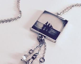 Ship Necklace / Boat Necklace / Hope Necklace / Sailing Necklace / Resin Pendant / Antiqued Silver Necklace / Anchor Necklace