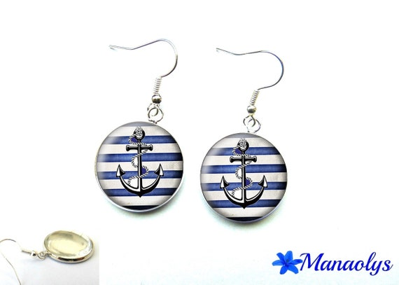 Silver earrings studs glass blue and white nautical anchor 2818