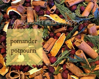 Orange POMANDER Potpourri with Clove, Cinnamon, Orange Peel, Cedar and Pure Essential oil of Orange and Clove perfect to Display or Simmer