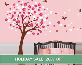 Cherry Tree Wall Decal Nursery  wall decals trees wall sticker kids baby bedroom children wall decor,brown white pink flowers butterfly