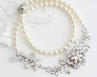 Bridal Pearl Necklace Wedding Necklace Vintage Bridal neck piece Crystal Floral Wedding Jewelry White Ivory Pearl for brides SABINE GARDEN