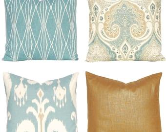 Decorative Pillow Covers - Sofa Pillow Covers - Throw Pillow Covers - Seafoam Pillow - Aqua Pillow Covers - Metallic Pillow Cover - Latika
