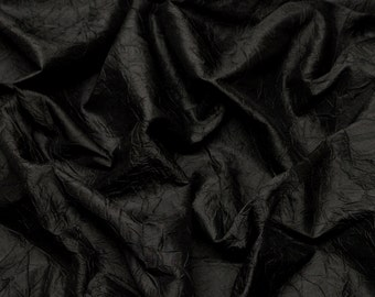 "Black Crushed Shantung Dupioni 100% Silk Fabric, 52"" Wide, By The Yard (SM-410)"