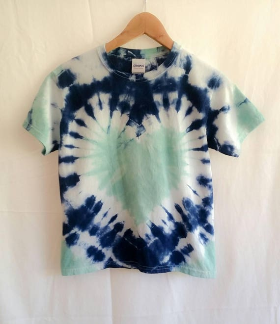Hand Dyed Childrens Tie Dye Heart T-shirt/Seaglass & Navy Blue Tie Dye