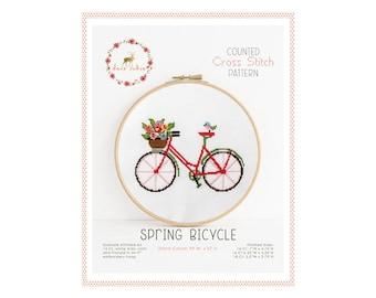 Compté Cross Stitch Pattern - printemps vélo / cross point, diy, How-to, broderie, motif, cadeau, vélo, bicyclette point de croix