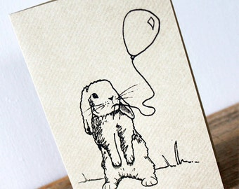 Bunny rabbit card | Easter Card | Birthday Greeting Card | New baby screen-printed kraft card