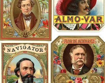 4 Cigar Labels, Portraits of Men, Vintage Embossed with Gold, Gorgeous Color, Great Condition