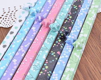 Origami Paper Lucky Star Paper Strips Romantic Floral Mixed Designs Star Foldng DIY - Pack of 90 Strips
