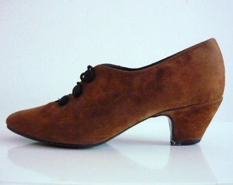 Vintage 1980s Suede Buttoned Shoes