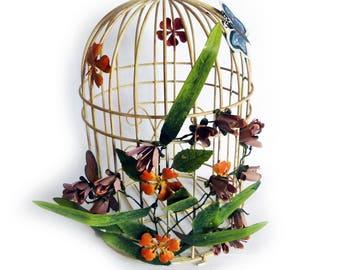 Decorative Metal Birdcage Painted Tole flowers & Butterflies
