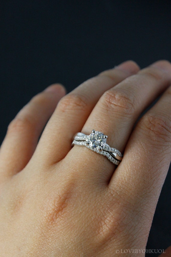 Moissanite Engagement Ring Forever One Twisted Vine Band