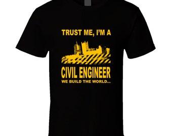Civil Engineer Gift, Engineer Shirt, Engineer Art, Yellow Top, Black Top, Printed Top, Black Tee, Engineer Top, Gift For Him, Art Top