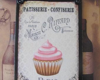 Cupcake Kitchen Decor, Paris Bakery Sign, French La Boulangerie, Cupcake Wall Decor, Vintage Bakery Sign, Patisserie