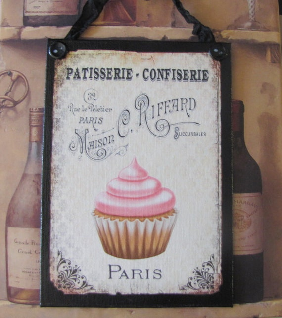Cupcake Kitchen Decor: Cupcake Kitchen Decor Paris Bakery Sign French La