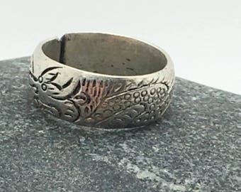 woman vintage silver ring (ring) adjustable