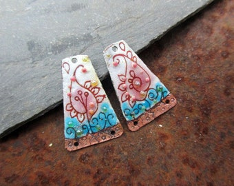 RESERVE Marie - Oriental - enameled copper charms - blue white pink bubbles-iridescent enamelled copper charms.