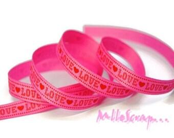 """1 meter printed Ribbon """"LOVE"""" rose embellishment scrapbooking card making."""