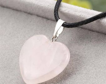 Pink leather and natural quartz stone necklace