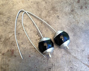 Black Agate and 925 Silver Drop earrings.