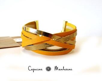 Leather strap bracelet - Golden saffron yellow