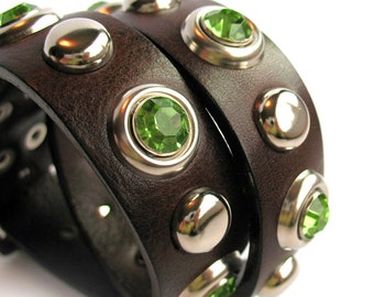 Chocolate Brown Leather Dog Collar with Mint Gems and Silver Studs, Size M/L, to fit a 17-20 Neck, Seattle Handmade, EcoFriendly, OOAK