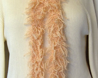 Peach, Boa, Faux Fur, Scarf, Extra long, Cottage Chic, Handmade, Crochet, Womens, Fluffy, Easter, Spring, Gift, Unique, Retro, Cruise Wear