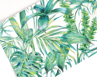 Edible icing sheet, rice, wafer paper with tropical leaves hand painted watercolor pattern, ideal for cupcake and cake decorations.