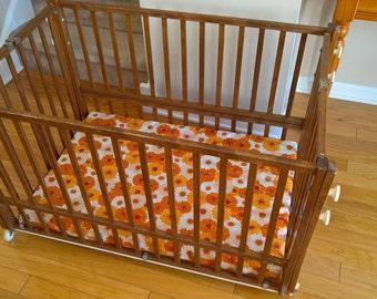 retro baby furniture. SALE Vintage Wooden Folding Portable Baby Crib Shower Nursery Gift Retro 1960\u0027s 1970\u0027s Daisies Pack Furniture N