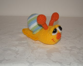 Crocheted Sammy the colourful snail by Liz